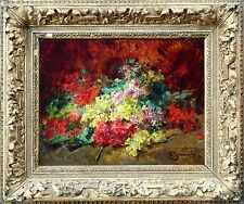 GEORGES JEANNIN (1841-1925) FRENCH OIL STILL LIFE FLOWERS to £49,000 SIGNED