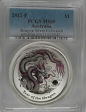 PCGS 2012-P Australia YEAR OF THE DRAGON Silver Colorized Lunar $1 MS69 1oz .999