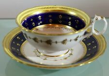 "Antique ""Union Wreath"" Cabinet Cup and Saucer, John Ridgway SUPERB Item, c.1835"