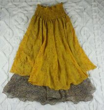 Nani silk skirt lagenlook boho hippie peasant long layer flowy yellow