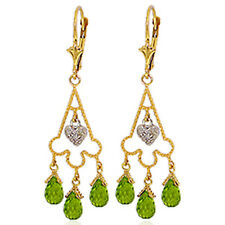 4.83 Carat 14K Solid Gold Chandelier Diamond Earrings Peridot