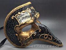Venetian Half face Capitano Carnivale men Black Gold Harlequin Zanni Nose Mask