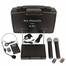 No Hassle VHF Wireless Radio Microphone System Dual Handheld + Headset Mics Case