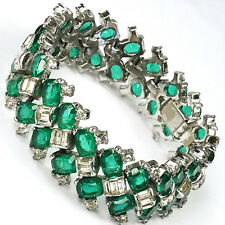 Jomaz Herringbone Pattern Square Emeralds & Diamante Baguettes Bracelet