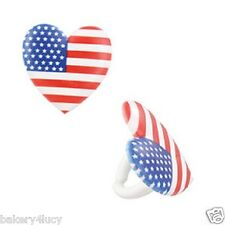 NEW I LOVE THE USA FLAG BIRTHDAY PARTY FAVORS CUPCAKE RINGS BAKING CUPS