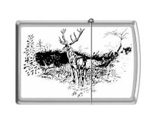 Zippo 205 buck with doe black & white artist print deer hunting Lighter