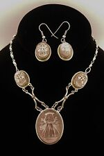 Grey Vintage Mother of Pearl MOP Three Graces Silver Cameo Necklace & Earrings