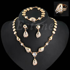 New Rhinestone Necklace Bracelet Earring Ring Jewelry Set For Wedding Party Prom