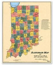 State of INDIANA USA Old Railroad County Map Indianapolis Fort Wayne circa 1852