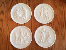 Royal Copenhagen FOUR SEASONS OF LIFE Eneret Relief Bisque Plaques Set of (4)