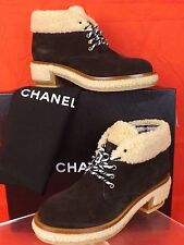 NIB CHANEL BROWN  BEIGE SUEDE FAUX  SHEARLING LACE UP CC LOGO ANKLE BOOTS 38.5