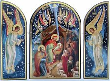 Wood Christmas Triptych Russian Nativity Set Scene Christ Icon Gift Jesus 8""