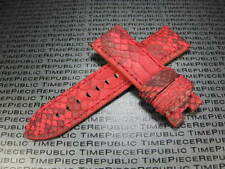 24mm PANERAI PAM PYTHON Skin Leather Strap Red Band Deployment Buckle X1