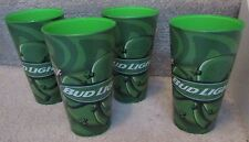 Lot of 4 Budweiser Bud Light St. Patricks Green Plastic Beer Cups Brand New