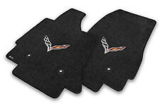 NEW! BLACK FRONT FLOOR MATS 2014-2016 CORVETTE C7 Flags Logo  Embroidered Pair