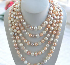 """100% Natural 100"""" 10-12mm white pink Purple baroque freshwater pearl necklace"""