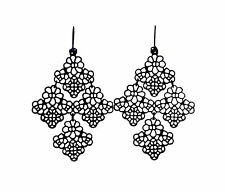 Stunning boho style black lace flower and leaf chandelier earrings