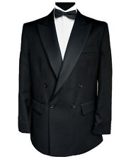 "Finest Barathea Wool Double Breasted Dinner Jacket 48"" Long"