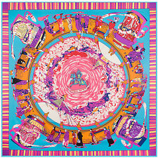 """Women's Twill Silk Square Scarf with the Pattern of Tibet Pilgrimage 51""""*51"""""""