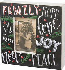 "PBK Wood 10"" Square Chalk BOX SIGN Christmas Words Picture Frame 4"" x 6"" Photo"
