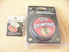 2015 Western Conference Champions pin and puck NHL Chicago Blackhawks