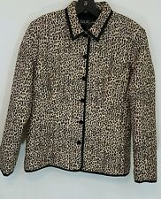 Silkland Animal Print Zip Up Jacket Modern 100% Silk Lining Petite Medium
