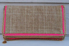 NEW $1275 Stella McCartney Fold Over Woven Raffia Clutch Beige Neon Pink Caramel