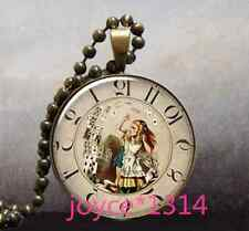 Alice in Wonderland Cabochon bronze Glass Chain Pendant Necklace #1184