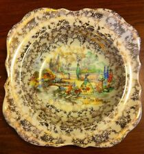 Lancaster  English Ware In an Olde World Garden Lady Gold Trim TRINKET DISH 6""