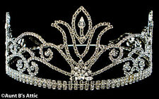 Crown Silver Rhinestone Studded Queens Crown Adult Adjustable Headpiece