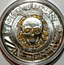 "PRIVATEER ""CAPTAIN"" 2 oz Silver Round with Gold Nuggets From Porcupine Alaska"