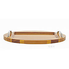 "Chris Craft Serving Sushi Oval Tray Platter 12.5"" Red Cedar Wood Nautical Decor"