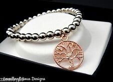 Beautiful Silver Pearl Bead Rose Gold Tree Of Life Bracelet Bangle 14cm -20cm