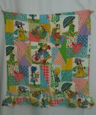 Vtg 70s HOLLY HOBBIE  Heather Amy Patchwork Curtains 2 Panel 31x35 FABRIC