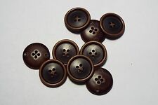 8pc 18mm Dark Brown Worn Wood Effect Coat Trouser Cardigan Kid Button 2734