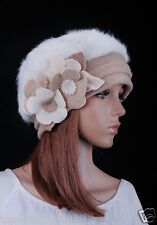 M72 NEW Wool Rabbit Fur Fashion Women's Winter Hat Beanie Cap 3D Flowers IVORY