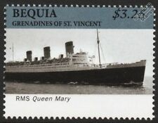 RMS QUEEN MARY Cunard Line Ocean Liner / Passenger Cruise Ship Stamp (Bequia)