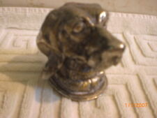 antique figural dog head inkwell cast metal hinged late 1800s