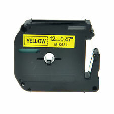 1PK MK631 MK-631 Black On Yellow Label Tape For Brother P-Touch PT-70BM 1/2""