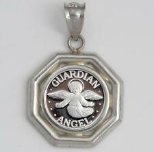 .999 PURE SILVER Guardian Angel Coin (14mm) in Sterling Silver Octogonal Pendant