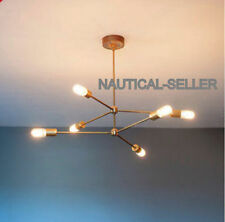 6 ARMS BULB NEW MID CENTURY MODERN ATOMIC SPUTNIK BRASS CHANDELIER LIGHT FIXTURE