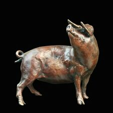 Pig Solid Bronze Foundry Cast Sculpture Michael Simpson (808)