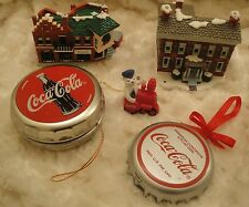 5 Coca Cola Ornaments-Bottle Cap-Bottle Cap Container-2 Coca Cola Buildings 1990