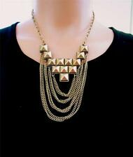 Awesome Dark BRASS CHAIN with GOTHIC Design & CHAIN FRINGE Pendant NECKLACE Punk