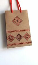Kraft tan paper handmade gift bags with handles Romanian pattern Party Valentine