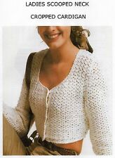VINTAGE CROCHET PATTERN - LADY'S SCOOPED NECK CROPPED CARDIGAN - DK - LAMINATED