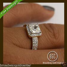 2.10 CTW Princess Cut Halo Engagement Ring 14k Yellow Gold