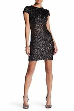 DRESS THE POPULATION EMBELLISHED SEQUIN ZIP BACK BLACK/ANTIQUE GOLD DRESS sz S