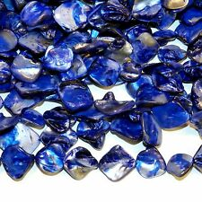 MPX1119 10-Strands Blue Diamond Nugget 16-20mm Mother of Pearl Shell Beads