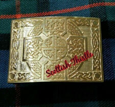 Men's Christian Belt Buckle Celtic Cross Knot Design Gold Plated/Scottish Buckle